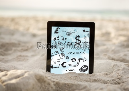 tablet in sand showing black business