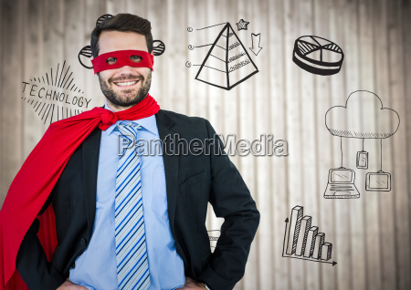 business man superhero with hands on