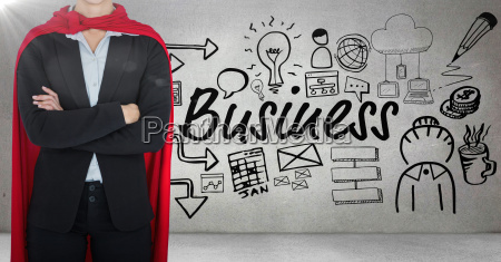business man superhero opening shirt against