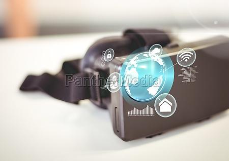 vr virtual reality headset mit schnittstelle