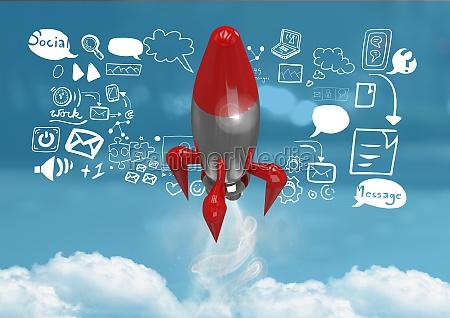 3d rocket flying and social media