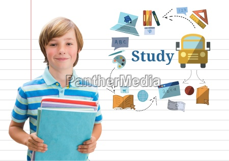 young boy school with books and