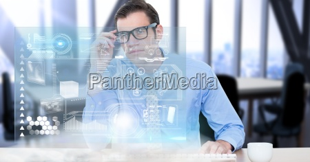 digital composite image of businessman looking