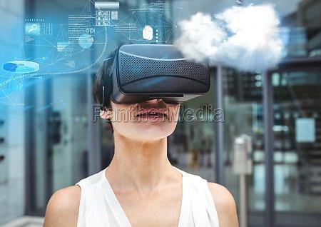 frau die vr kopfhoerer der virtuellen