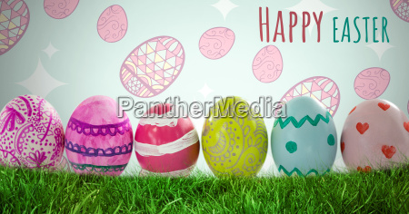 happy easter text with easter eggs