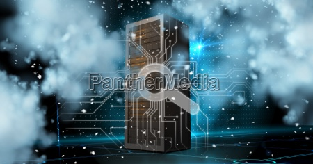 digital composite image of server with