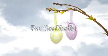 easter eggs hanging on branch in