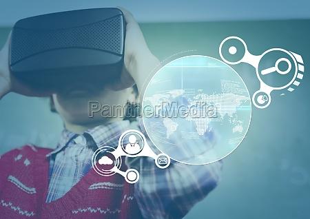 kind traegt vr virtual reality headset