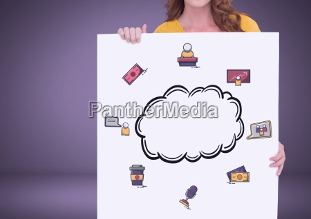woman holding card with cloud and