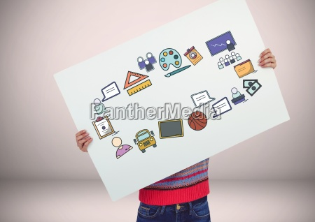 person holding card with craetive education