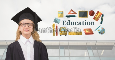 young girl student graduate with education