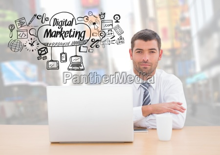 man with laptop and digital marketing