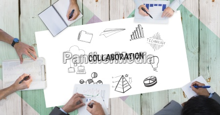 collaboration text with icons and business