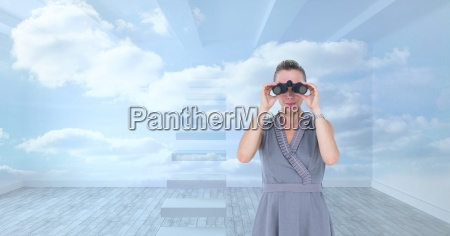 digital composite image of businesswoman looking