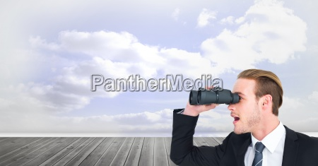 digital composite image of surprised businessman
