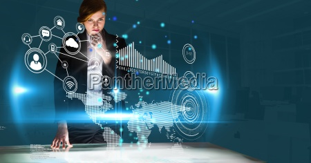 digital composite image of businesswoman working