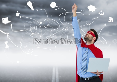 business man superhero with laptop and