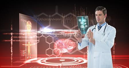 digital composite image of male doctor