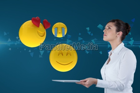 composite image of businesswoman using a