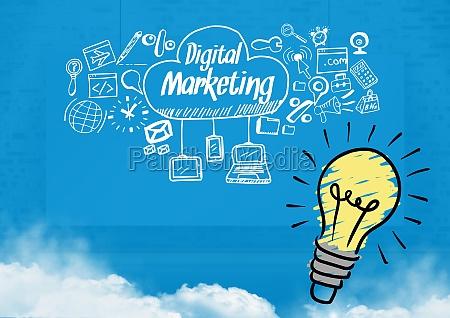 colourful lightbulb and digital marketing text
