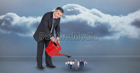 digital composite image of manager watering