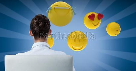 digital-zusammengesetztes, bild, der, geschäftsfrau, emojis, betrachtend - 23255173