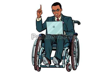 african businessman in wheelchair isolated on