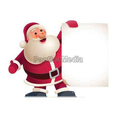 santa claus showing banner