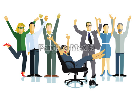 business people celebrate a victorybusiness successillustration