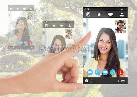 handberuehrende social video chat app schnittstelle