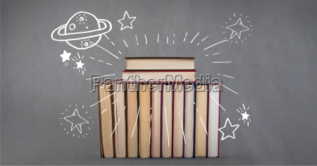 digital composite image of books with