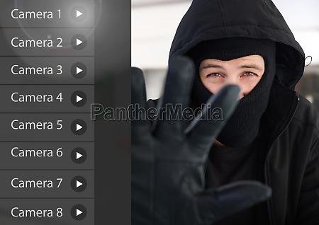 criminal man on security camera app
