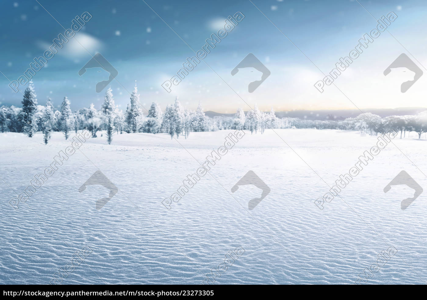 landschaft, des, schneebedeckten, feldes, mit, gefrorenen - 23273305