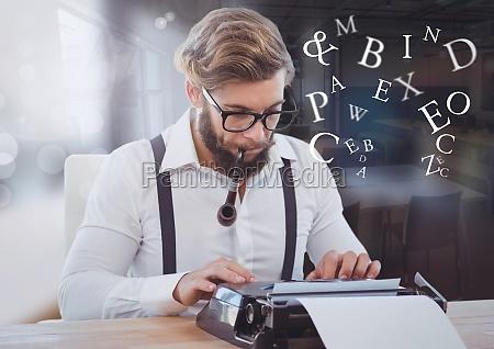 hipster man on typewriter with