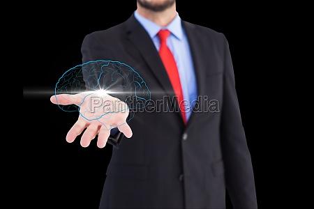 gehirn auf der hand geschaeftsmann vor
