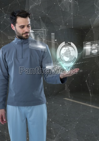 mann in einem futuristischen raum mit