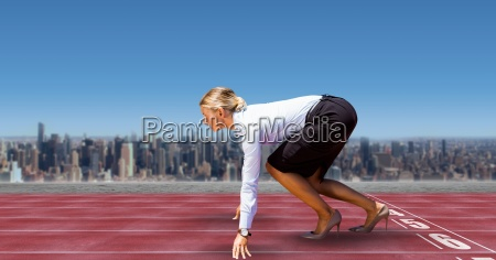 digital composite image of businesswoman on