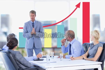 business meeting in front of digital