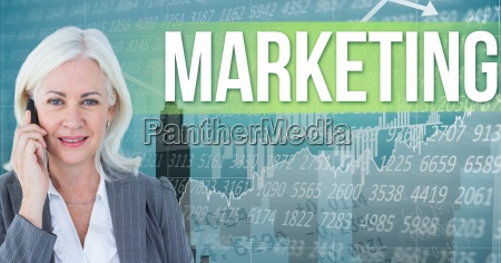 digital composite image of businesswoman talking