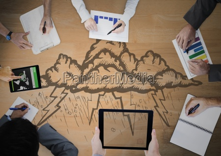 overhead of business team with wood