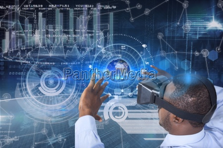 business man wearing virtual reality helmet