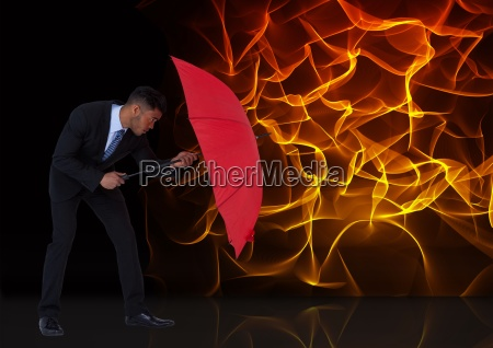 digital composite image of businessman holding