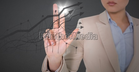 business woman mid section touching grey