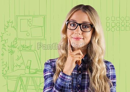 millennial woman thinking against green hand