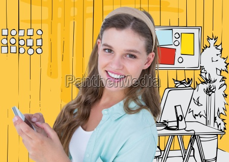 millennial woman with phone against yellow