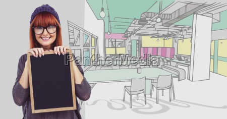 millennial woman with chalkboard against 3d