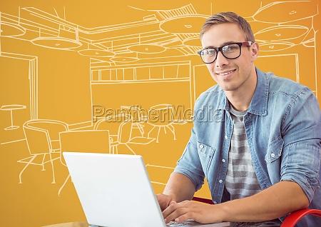 millennial man at laptop against 3d