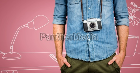 millennial man with camera mid section