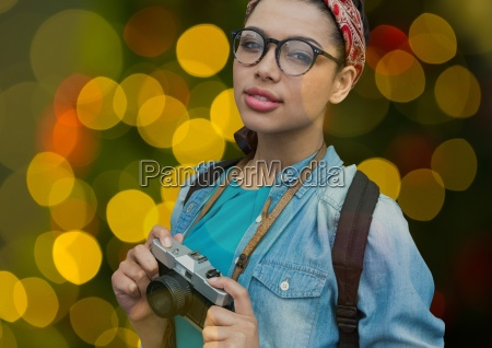 hipster photographer woman with glasses and