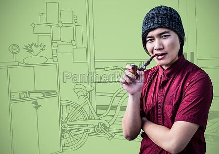 millennial man smoking pipe against green